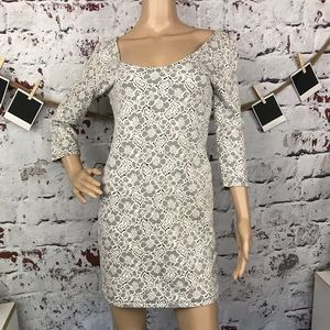 FOREVER 21 Lace Printed Fitted Dress